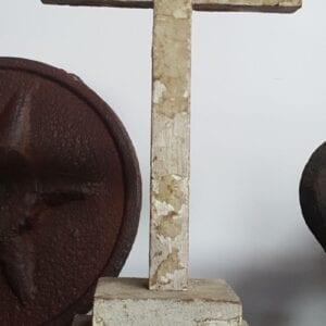 Primitive wooden cross with nice old paint.