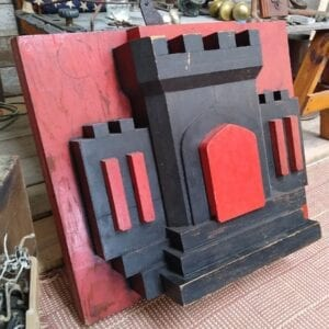 "Industrial wooden mold, 30' x 36"", with original red and black paint."
