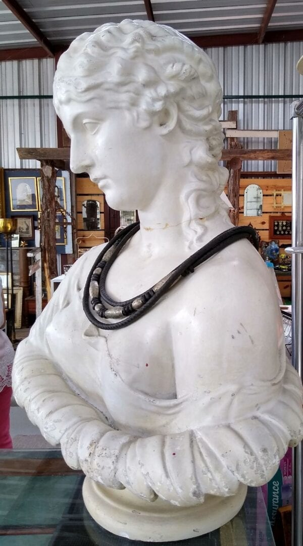 Plaster bust of classical lady, some repairs.
