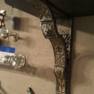 Pair of Japanned brackets dated 1878.