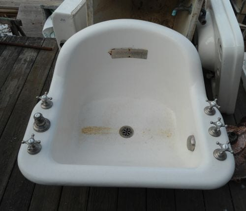 Elaborate porcelain sitz bath with lumbar spray and bidet functions. Made by Standard plumbing c. 1890