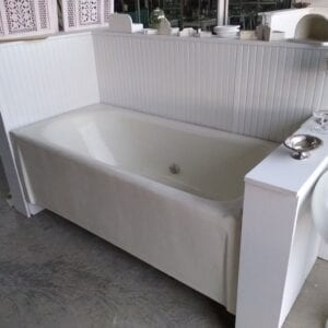 Flat front built-in earthenware tub by J. L. Mott, c. 1900. Mansion quality.